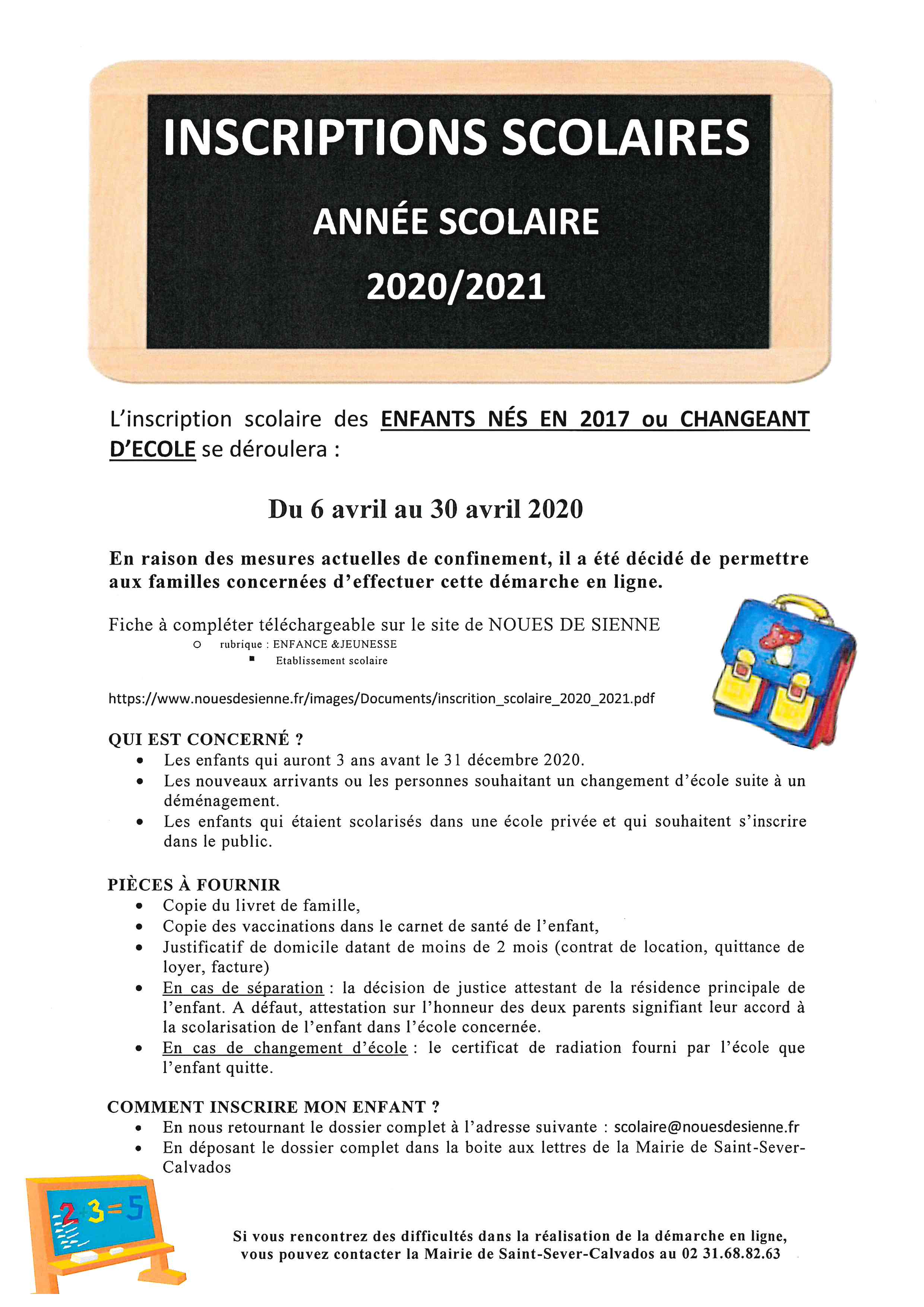 inscription scolaire 2020 21